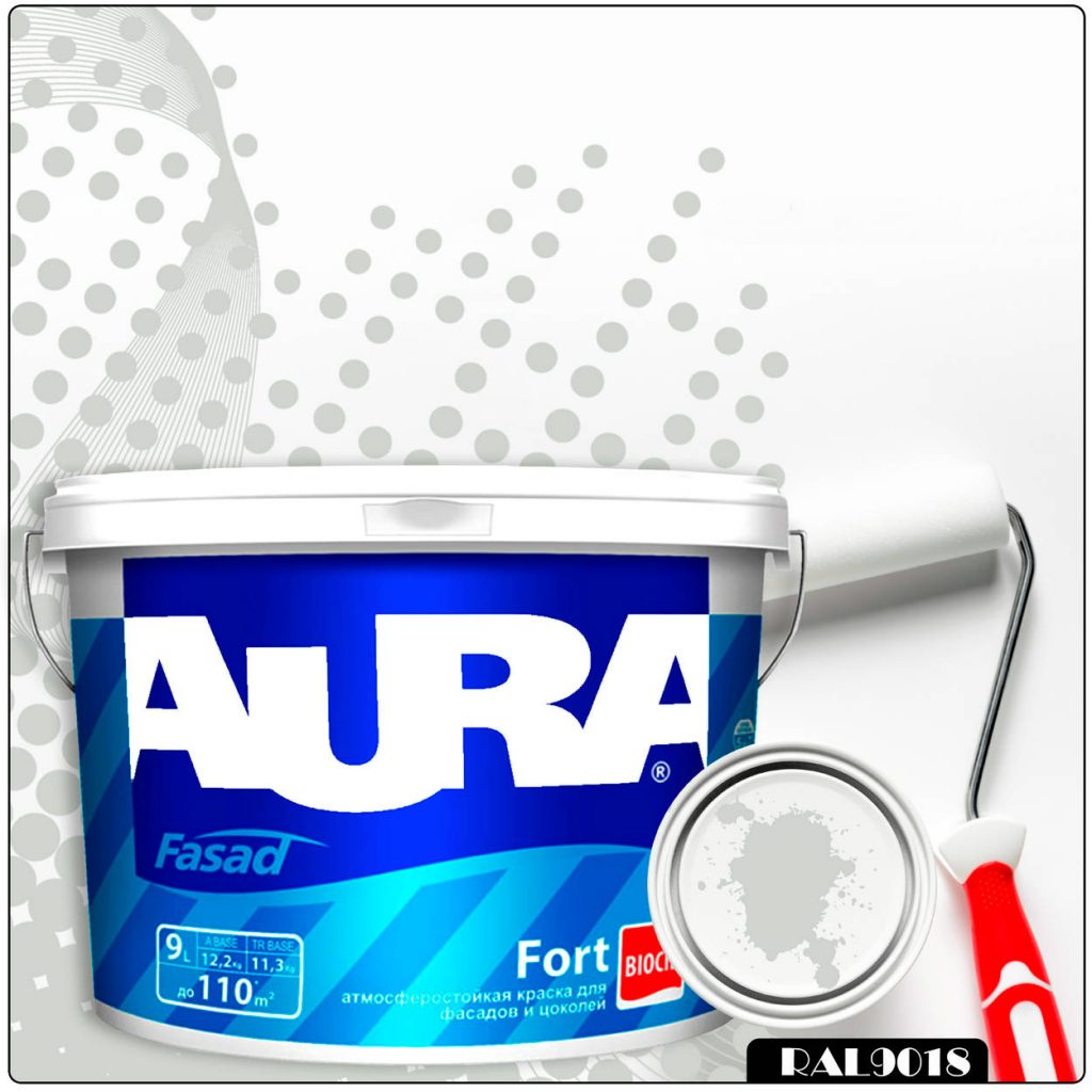Фото 1 - Краска Aura Fasad Fort, RAL 9018 Белый папирус, латексная, матовая, для фасада и цоколей, 9л, Аура.