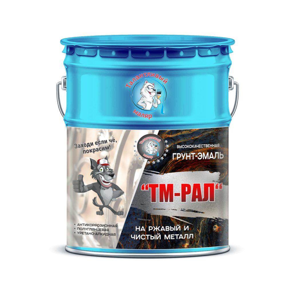 """Фото 1 - TM5015 Грунт-Эмаль """"ТМ РАЛ"""" уретано-алкидная 3 в 1 цвет RAL 5015 Небесно-синий, антикоррозионная,  полуглянцевая для черных металлов, 20 кг """"Талантливый маляр""""."""